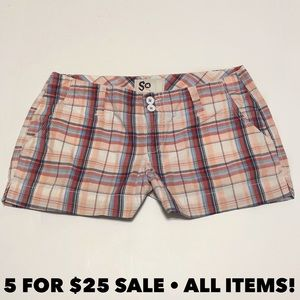 SO Plaid Peach Shorts